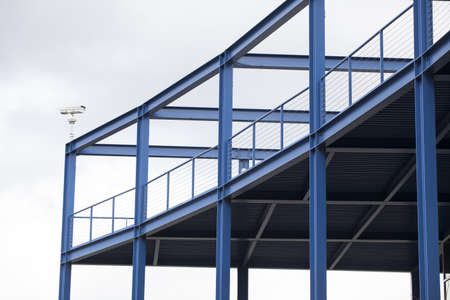 girders: Blue viewing platform with steel girders and railings Stock Photo
