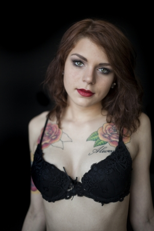 black bra: Portrait of a beautiful young woman in a black bra and panties. Stock Photo