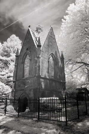 crypt: Infrared photo of the mausoleum at Lone Fir. This is a public park now.