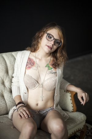 Portrait of a beautiful young woman in her bra and panties. photo
