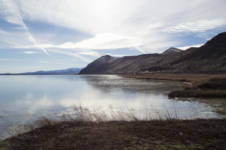 sheen: A thin sheen of ice on Tule Lake in Northern California near Klamath Falls.