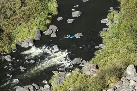 crooked: A kayak in the Crooked River Gorge near Terrebonne, Oregon.