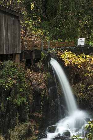 grist mill: An autumn view of the Cedar Creek Grist Mill outside of Woodland, Washington.