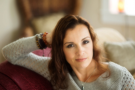 light complexion: Photo of a very attractive 40-year-old woman with brown hair and eyes. Stock Photo