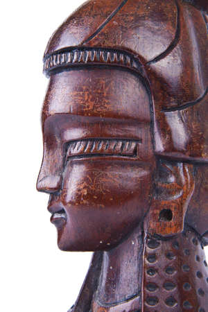 indian mask: Wood carving of a face