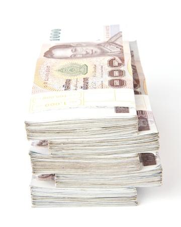 1000 baht banknotes isolated on white background  photo