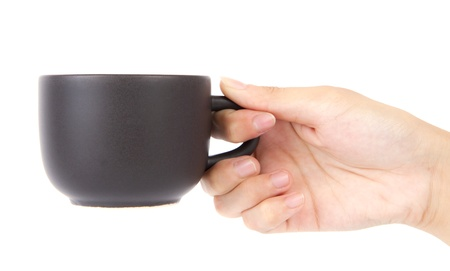 Female hand holding a cup of coffee on a white background
