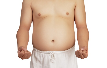 overweight man with big belly on white backgrund