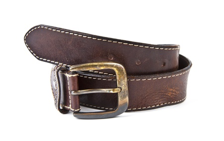 Brown mens belt with bronze clasp on white background  Stock Photo