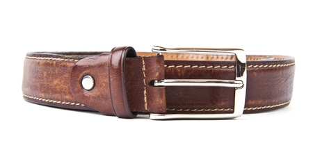 Brown men's belt with bronze clasp on white background Stock Photo - 13443399