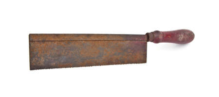 crosscut: Old rusty crosscut saw isolated on white  Stock Photo