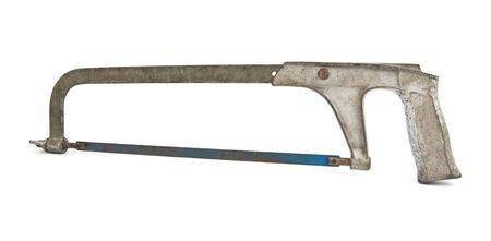 crosscut: Old rusty crosscut saw isolated on white