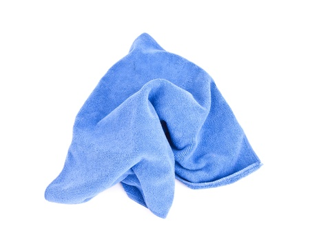 Blue microfiber cloth on a white background  photo