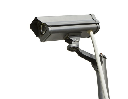Surveillance high-definition camera isolated on white background.