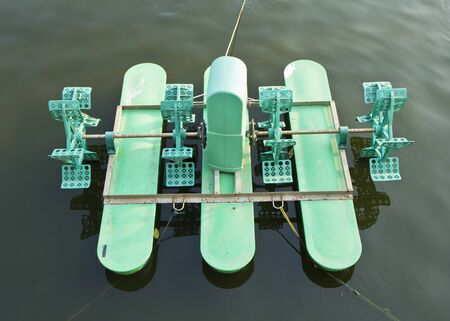 aerator: Water treatment by aerator in the pond