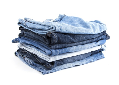 Jeans op witte achtergrond Stockfoto