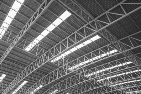 Large steel roof, view from bottom to top. Stock Photo