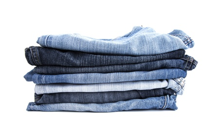 Jeans on white background photo