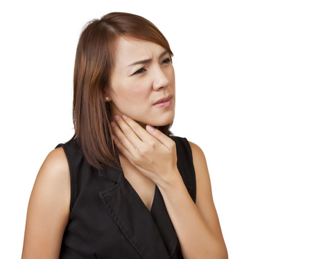 Asian women sore throat on a white background  Stock Photo