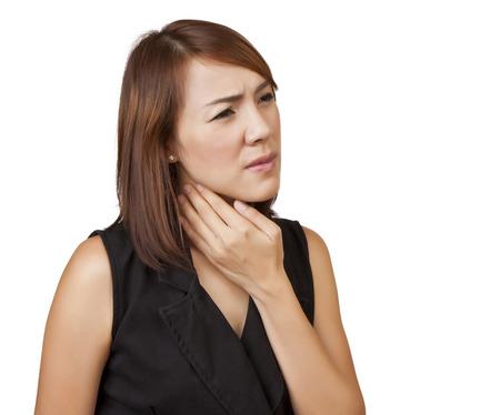 Asian women sore throat on a white background  Stock Photo