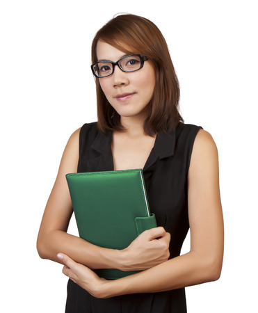 Businesswoman with diary on a white background photo