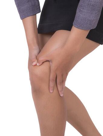 mujeres trabajando: El dolor de rodilla de la mujer trabajadora. Foto de archivo