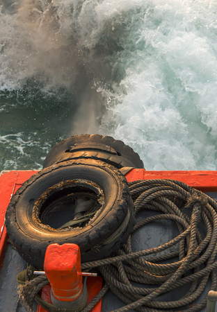 carbon emission: Pollution from fishing boat Stock Photo