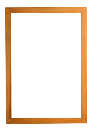empty space: Wood frame isolated on white background. Stock Photo