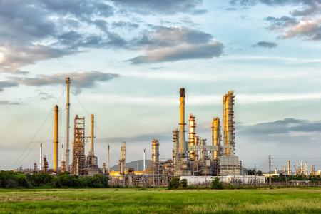 Oil refinery at evening, locations in Thailand. Stock Photo