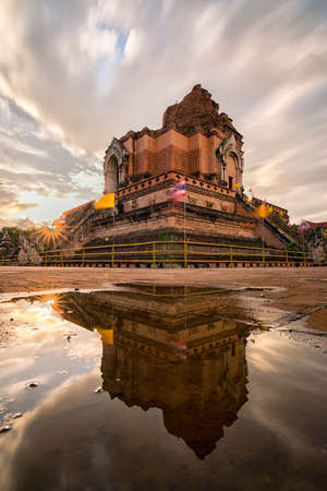 public domain: Ancient pagoda at Wat Chedi Luang temple 700 years in Chiang Mai, Thailand. They are public domain or treasure of Buddhism, no restrict in copy or use