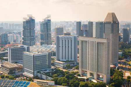 june 25: SINGAPORE - JUNE 25, 2015 :Singapore skyline downtown on June 25, 2015 in Singapore.