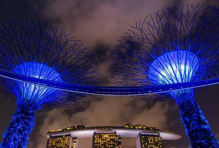 SINGAPORE - JUNE 27, 2015 : Night view of Supertree Grove at Gardens near Marina Bay and Marina Bay Sands hotel. Editorial