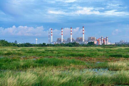 Thermal power plant with lagoon. Bangpakong Powerplant, Chonburi, Thailand