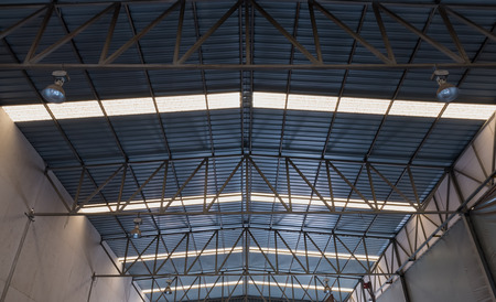 Old roof structure of factory. Stock Photo