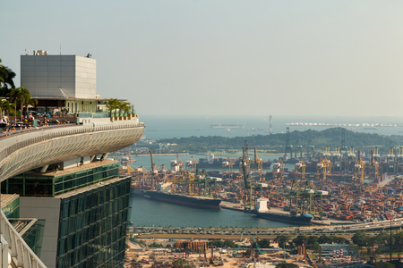 SINGAPORE - JUN 25, 2015: Landscape from bird view of Cargo ships and Business travel in Singapore. Editorial