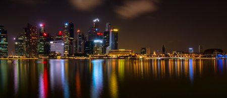 Singapore at night, Panoramic shot.