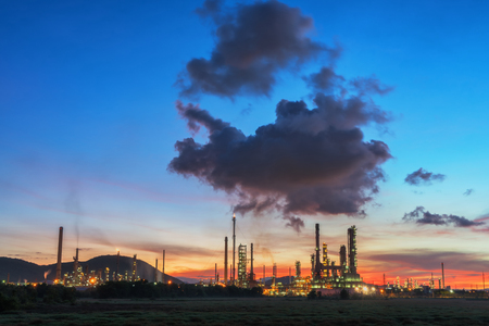 Oil refinery at sunrise sky, locations in Thailand. Stock Photo