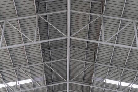 Structuur van metalen plaatdak, dakstructuur van fabriek.