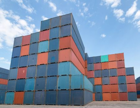 Industrial container yard for logistic import export business, International shipping logistics.