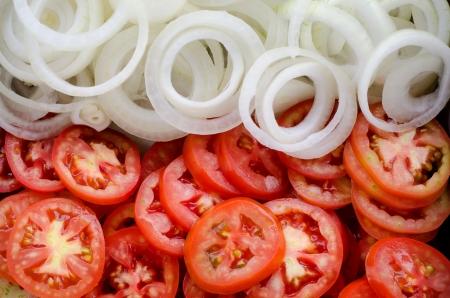 Cebola e tomate fatia