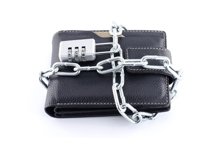 black locked wallet - completely isolated on white