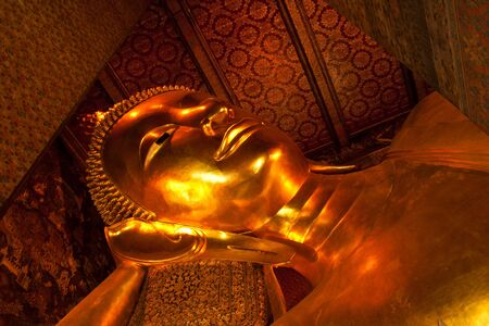 king bed: ฺฺBuddha King bed in the temple Wat Pho.