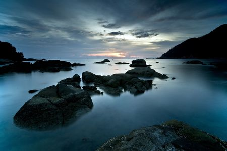 langkawi: Long exposure of a seascape in Langkawi, Malaysia. Stock Photo