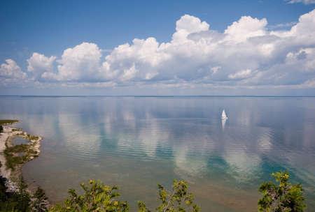 mackinac: Lone sailboat on lake Michigan  Stock Photo