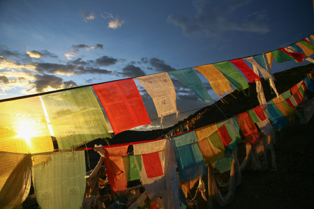Buddhism Tibetan flags on a mountain in China