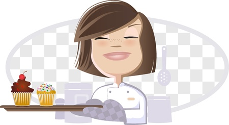 skilled: Girl and Cupcakes Illustration