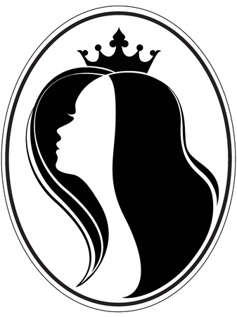 Silhouette of a girl and a crown on a different layers Illustration