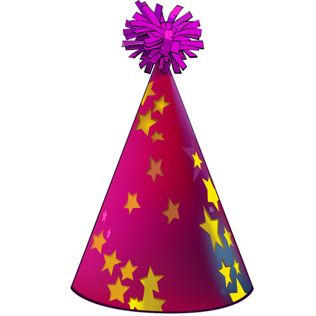 dressing up costume: Premium party hat with stars. Made with gradient mesh Illustration