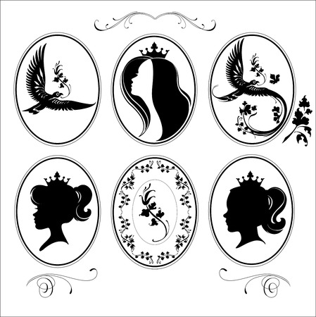 Decorative birds with artistic leafs. Set of three little princesses Minimal points and easy to use. Isolated on white and good at every size Vector