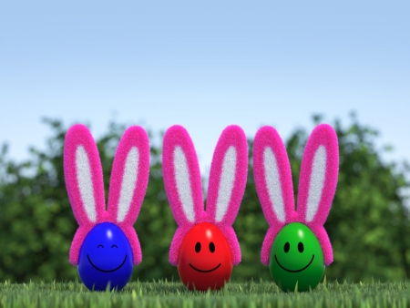 Smiling Easter-Eggs with fluffy Bunny Ears photo
